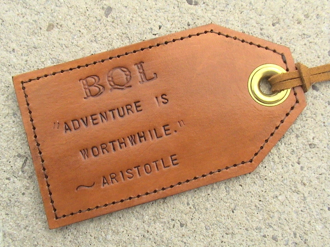 Custom Favourite Quotes Leather Luggage Tag with privacy