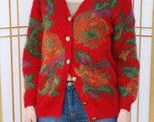 Red Mohair Sweater in Floral Print