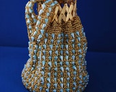 1960s Evening Bag with Gold Lamay and Blue Beading