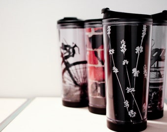 READY TO SHIP: Travel Mug with Black and White Flowers
