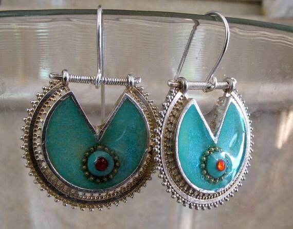 Filigree silver earrings, turquoise earrings.