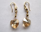 Pale gold Swarowski heart earrings