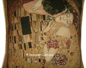 Gustav Klimt - The Kiss - Gold Metallic Tapestry Cushion Pillow Cover Sham