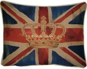 Union Jack Royal Blue Design 1 Oblong Tapestry Cushion Cover