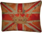 Union Jack Orange 2 Oblong Tapestry Cushion Pillow Cover