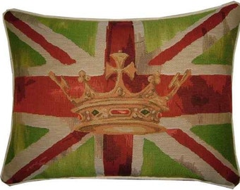 Union Jack Lime Design 2 Oblong Tapestry Cushion Pillow Cover