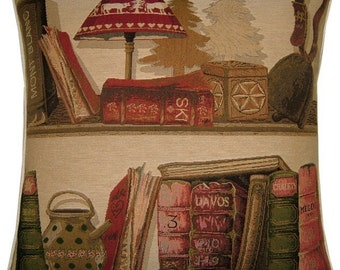 Library Books Ski Woven Tapestry Cushion Cover Sham