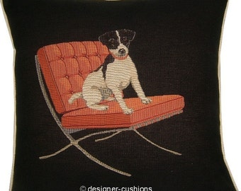 Jack Russell in a Red Retro Chair Black Tapestry Cushion Cover Sham