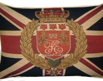 Union Jack Lions and Wreath Tapestry Cushion Pillow Cover