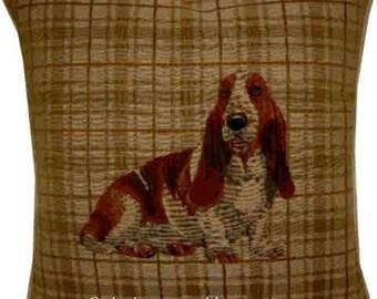 Bassett Hound Light Check Tapestry Cushion Cover Sham