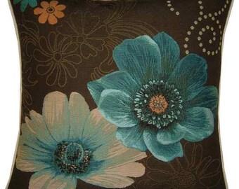 Gerbera Flowers Blue Tapestry Cushion Cover Sham