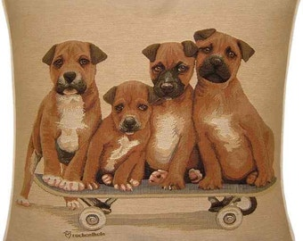 Staffordshire Bull Terrier Puppies on Skateboard Woven Tapestry Cushion Cover Sham