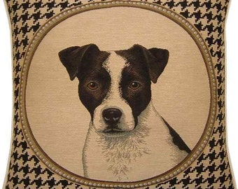 Jack Russell Dogtooth Check Tapestry Cushion Cover Sham