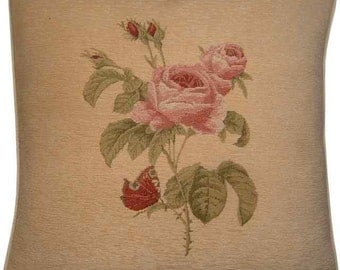 Pink Rose Chenille Tapestry Cushion Cover Sham