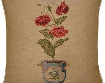 Poppy Pot Plant Tapestry Cushion Cover Sham