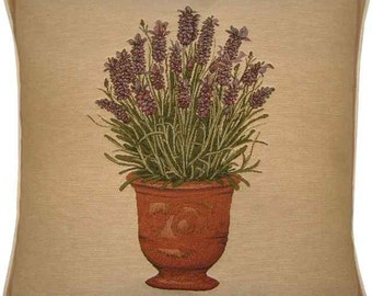 Lavender Pot Plant Tapestry Cushion Cover Sham