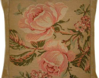 2 Pink Roses Woven Tapestry Cushion Cover Sham