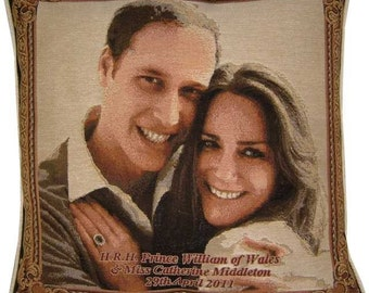 SALE - Royal Wedding HRH Prince William Kate Middleton Design No 1 Tapestry Cushion Cover Sham
