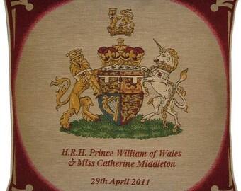 SALE Royal Wedding HRH Prince William Kate Middleton Royal Crest Tapestry Cushion Cover Sham