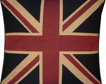 Union Jack Black Square Tapestry Cushion Pillow Sham