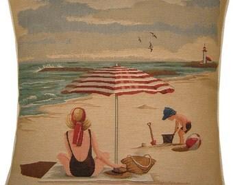 Beach Theme Umbrella on the Beach Tapestry Cushion Cover Sham