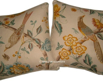 Pair GP J Baker Elinors Chinese Yellow Linen Cushions Covers