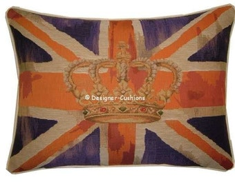 Union Jack Purple Design No 1 Tapestry Cushion Pillow Cover