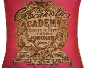 SALE The Chocoholics Academy Pink Woven Tapestry Cushion Cover Sham