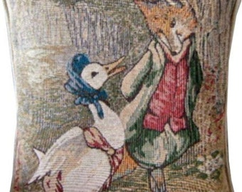 Beatrix Potter Jemima Puddleduck and Mr Fox Tapestry Cushion Cover Sham Pillow