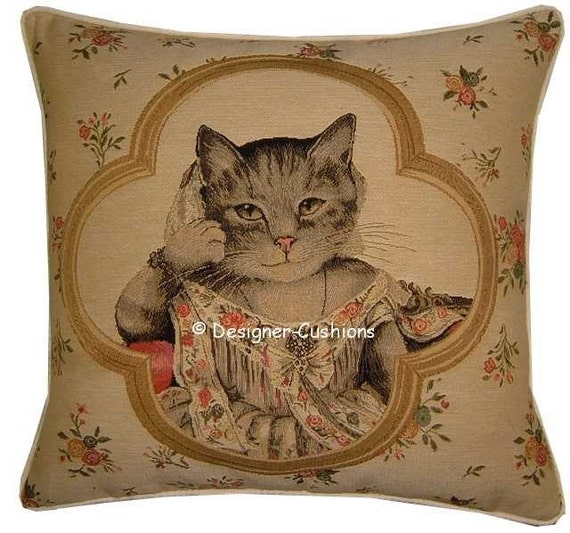 Susan Herbert Framed Jayne Cat Tapestry Cushion Cover Sham