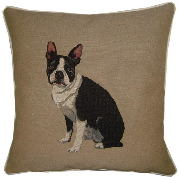 Boston Terrier Woven Tapestry Cushion Cover Sham