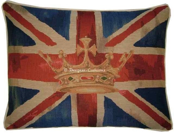 Union Jack Royal Blue Design 2 Oblong Tapestry Cushion Cover