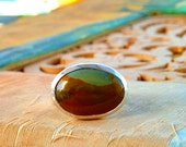 Picture Jasper ring sterling silver ring oval natural gemstone in sky blue and earth colors