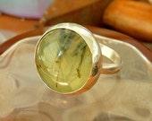Handmade Green Rutilated Quartz Silver ring