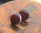 Carnelian dangle earrings, Round Carnelian gemstone earrings, sterling silver dangle earrings