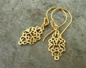 Valentine gift, earrings for her, Arabesque golden dangle earrings, gold drop earrings