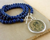 Antique roman coin necklace with Lapis Lazuli beads