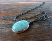 ON SALE, Amazonite Silver Necklace, Statement necklace, Oxidized silver chain
