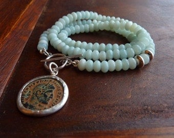 Light Blue Amazonite necklace with an Ancient roman coin pendant, Statement necklace, birthstone necklace, Amazonite strand necklace