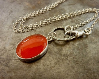 Oval  Carnelian  Necklace, July birthstone necklace, Gemstone Pendant, Sterling silver chain Natural
