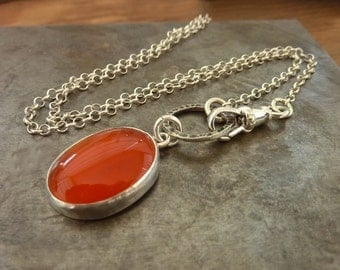 Oval  Carnelian  Necklace, July birthstone necklace, Gemstone Pendant, Sterling silver chain, Natural Carnelian Gemstone