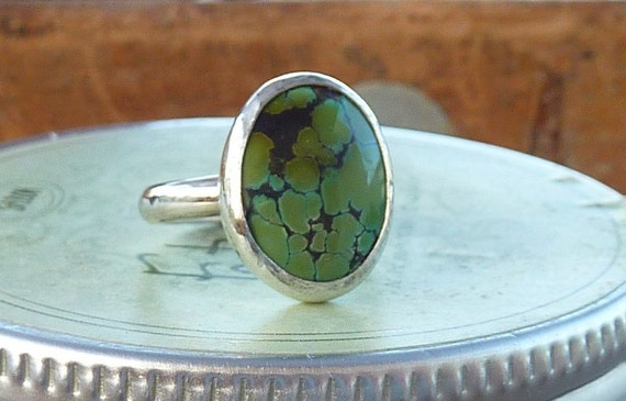 Green spider web Turquoise and silver ring