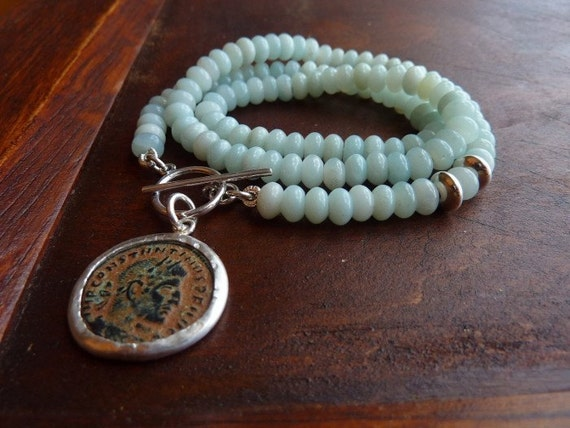Light Blue Amazonite necklace with an Ancient Roman coin statement necklace