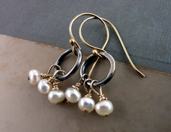 White Freshwater Pearl Earrings . Sterling Silver .oxizdized silver ring. gold earwire. goldfilled wire
