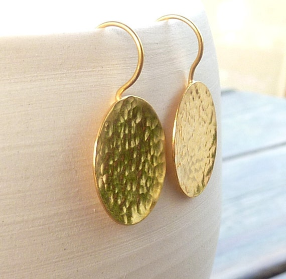 Gold discs  earrings Gold discs dangle earrings 24K golden earrings