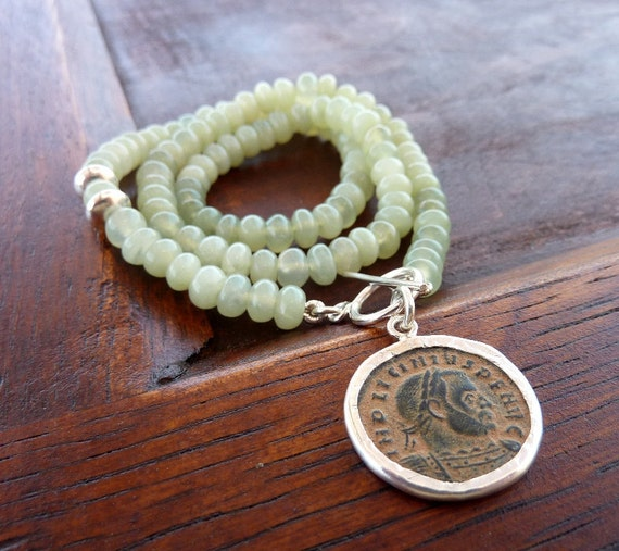 Green Jade necklace with an Ancient Roman coin