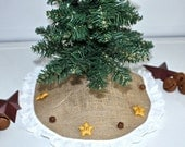 Mini Christmas Tree Skirt Natural with Stars and Bells