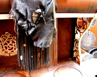Jen's Wicked Black Bag of Sexiness II- the dark side - elkhide and deerskin leather purse - MADE to ORDER - this bag is a style example