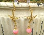 Blushing Pink Bird In Flight Earrings