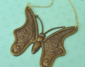 Glorious Butterfly In Antique Brass Pendant Necklace